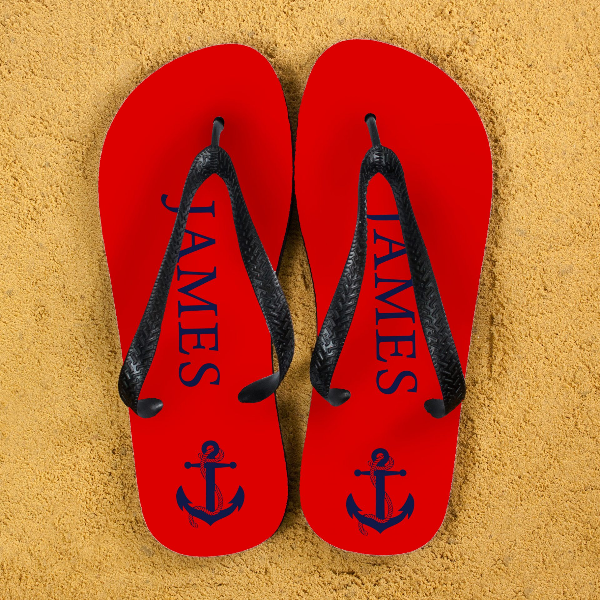 Anchor style Personalised Flip Flops in Red and Blue