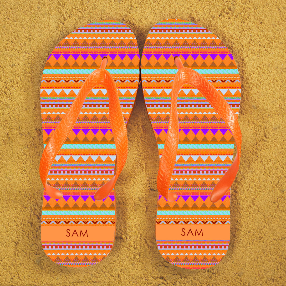Aztec style Personalised Flipflops in Orange
