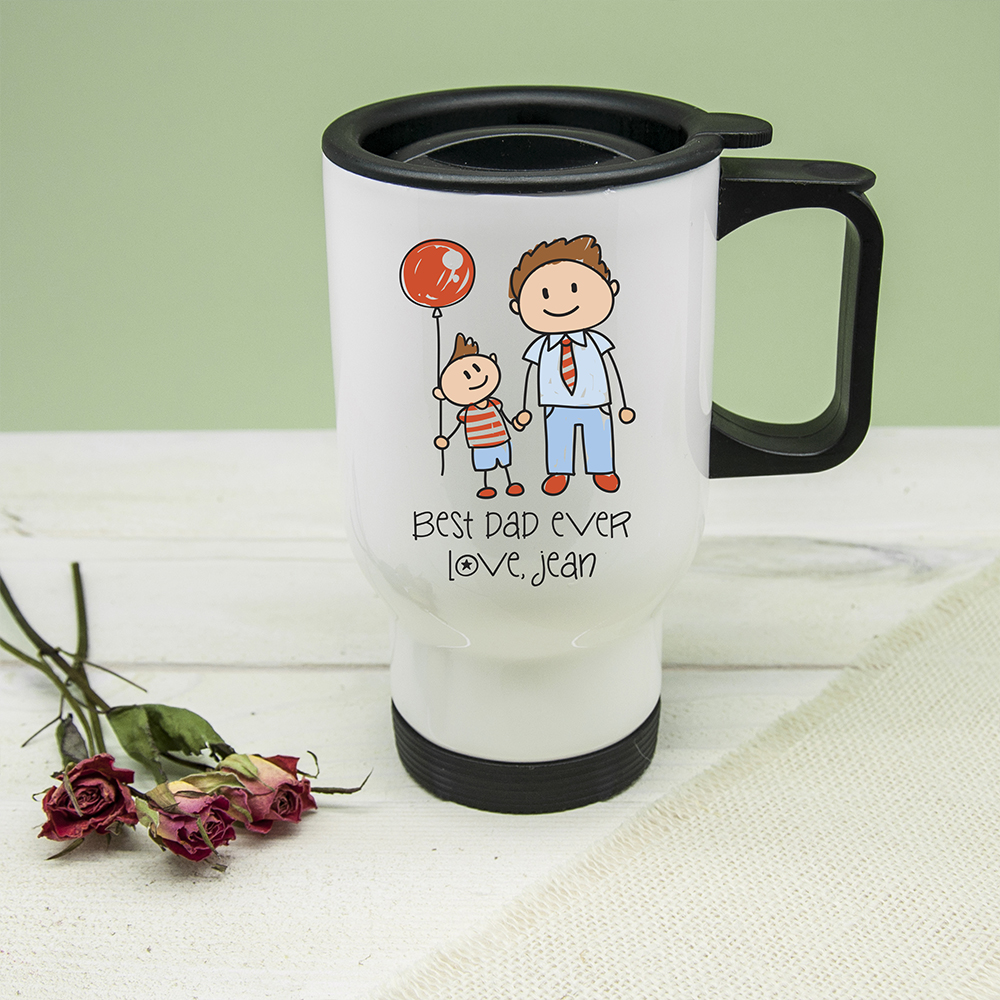 I Love My Dad Personalised Kid's Artwork Travel Mug