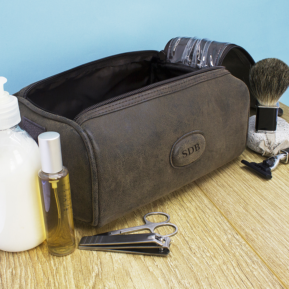Men's Personalised Suede Textured Double Zipped Wash Bag