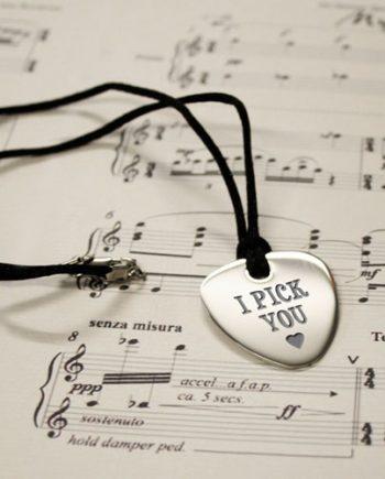 Personalised I Pick You Plectrum Pendant